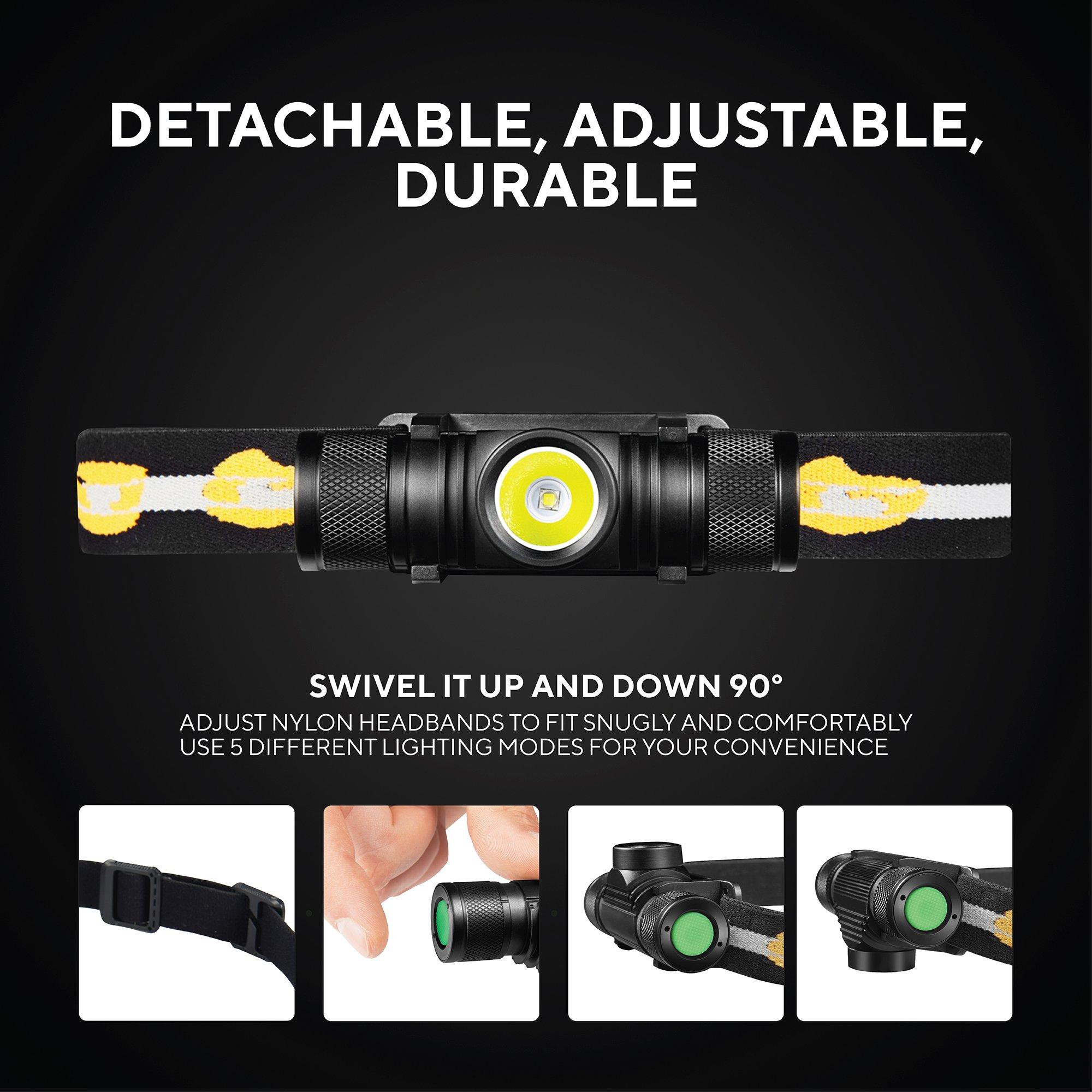 SLONIK - Adjustable beam - 500 Lumen Rechargeable LED Headlamp 2200 mAh Battery - Lightweight, Durable, Waterproof and Dustproof Headlight - Amazing 220-yards Beam - Great as Camping and Hiking Gear by SLONIK (Image #7)