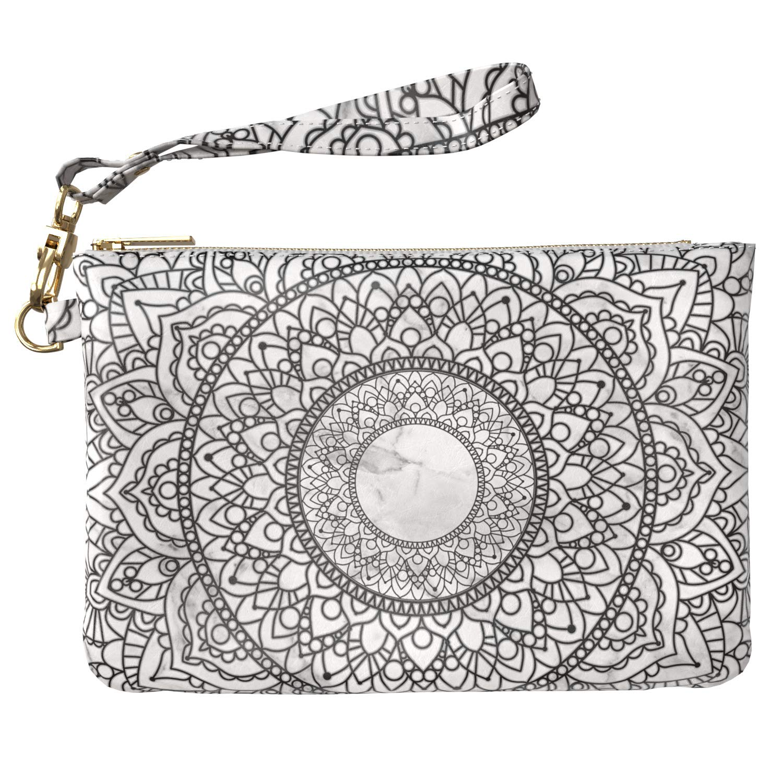 5b5ce4e03c81 Lex Altern Makeup Bag 9.5 x 6 inch White Marble Mandala Flower Henna ...