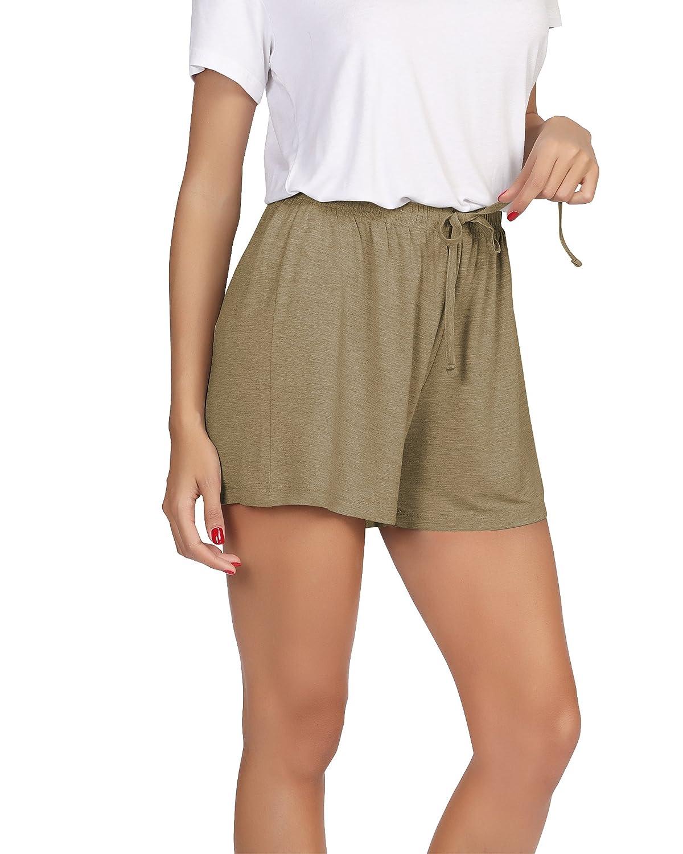 golden GYS Womens Bamboo Drawstring Pajama Shorts