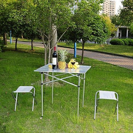 Zerone Mesa de Camping Plegable Bajo,70 x 70 x 70 Mesa Plegable Enrollable Ligera de Aleación de Aluminio Portátil para Llevar al Aire Libre Acampar, ...