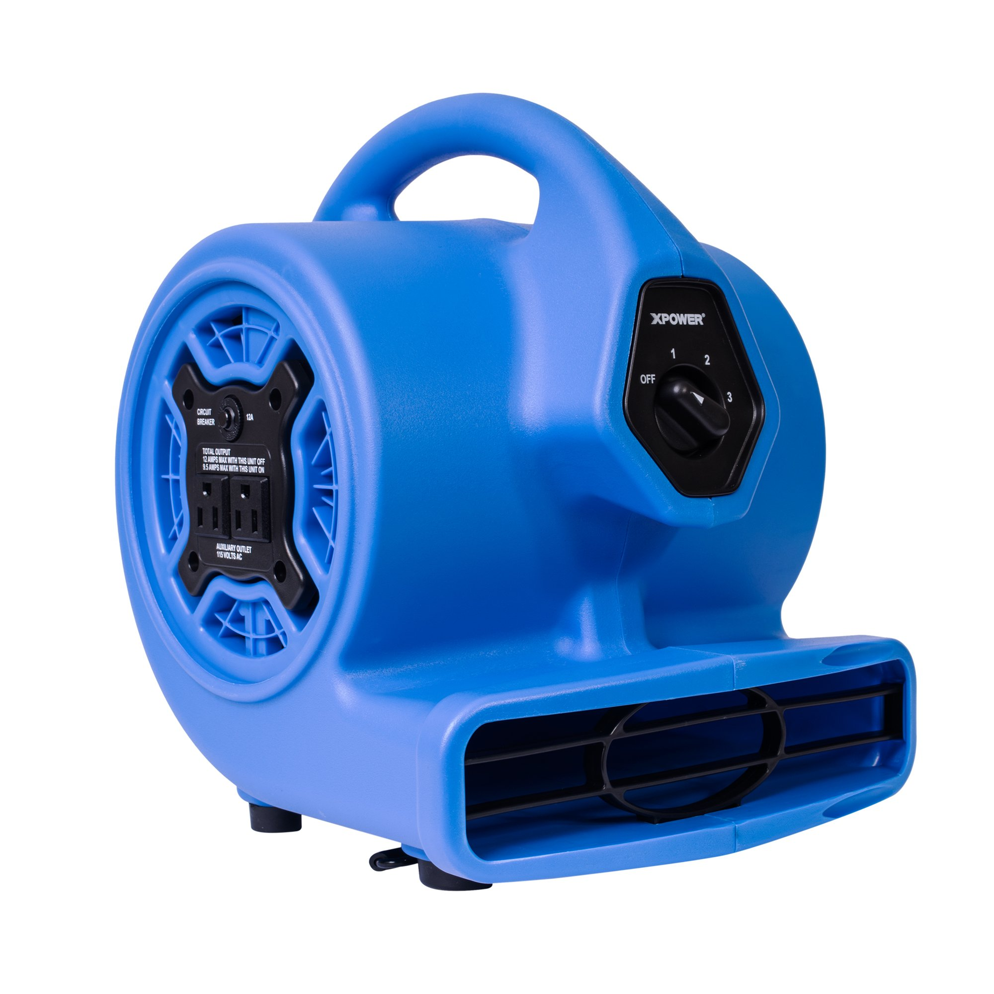 XPOWER P-100A 3 Speeds Mini Air Mover, Floor Fan, Dryer, Utility Blower with Built-In Dual Outlets for Daisy Chain- Blue