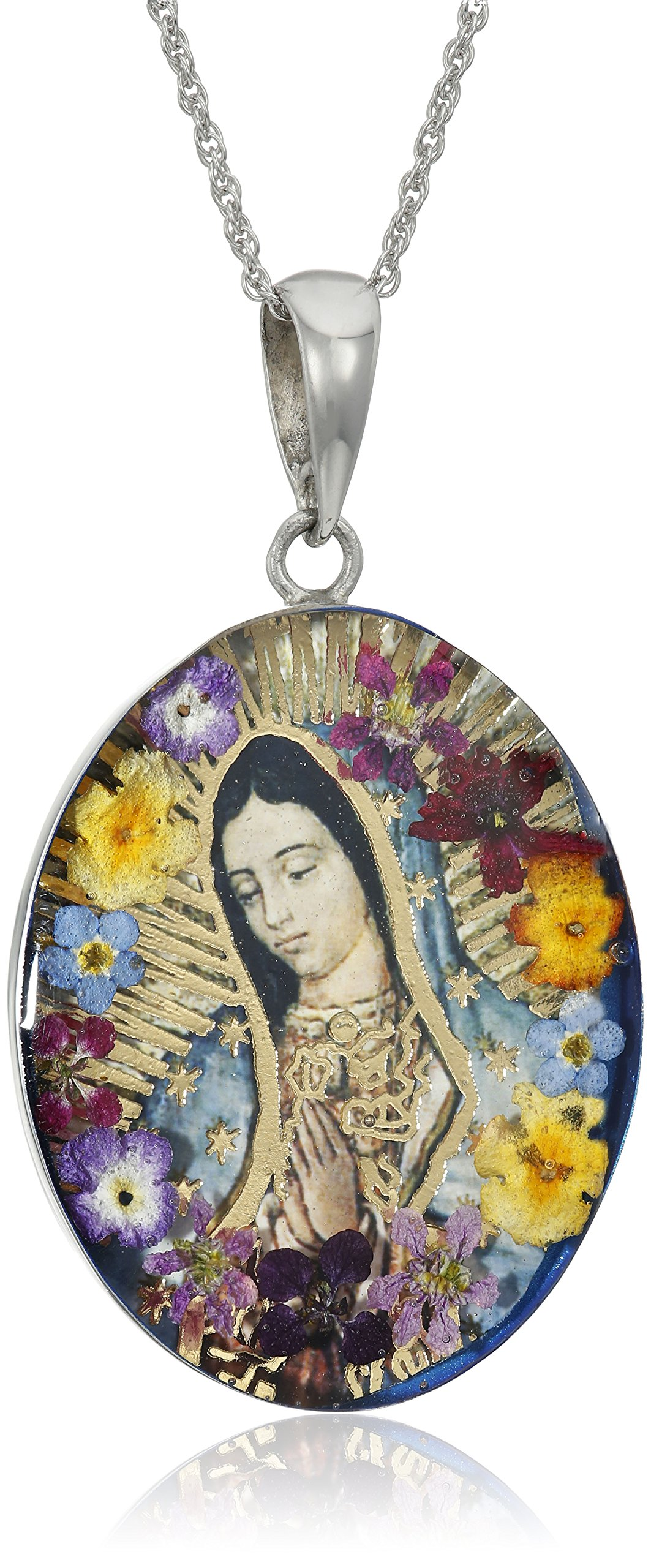 Sterling Silver Virgin Mary of Guadalupe Pressed Flower Pendant Necklace, 18''