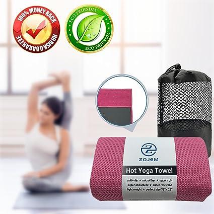NUEVA EDICIÓN - ZOJEM Toalla de Yoga Microfibra Yoga Towel Con el bolso del acoplamiento, super absorbente, antideslizante, Mat-bikram, Ashtanga, ...
