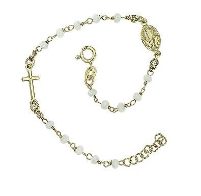 605b89a831b Bracelet Homme Femme Argent Croix Argent 925 perles blanches Idée de cadeau  Fabriqué en Italie 2e