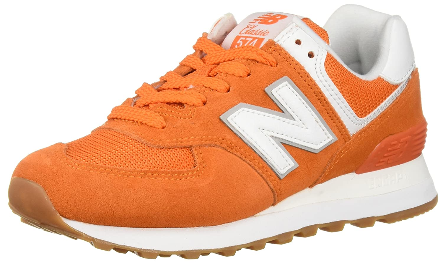 New Balance Women's 574v2 Sneaker B0751RXKVD 5 B(M) US|Varsity Orange/Overcast