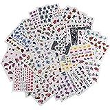 INHDBOX 50×Nail Decals,Nail Art Water Transfer Sticker Decal-butterfly, flower, heart ect ( different patterns )