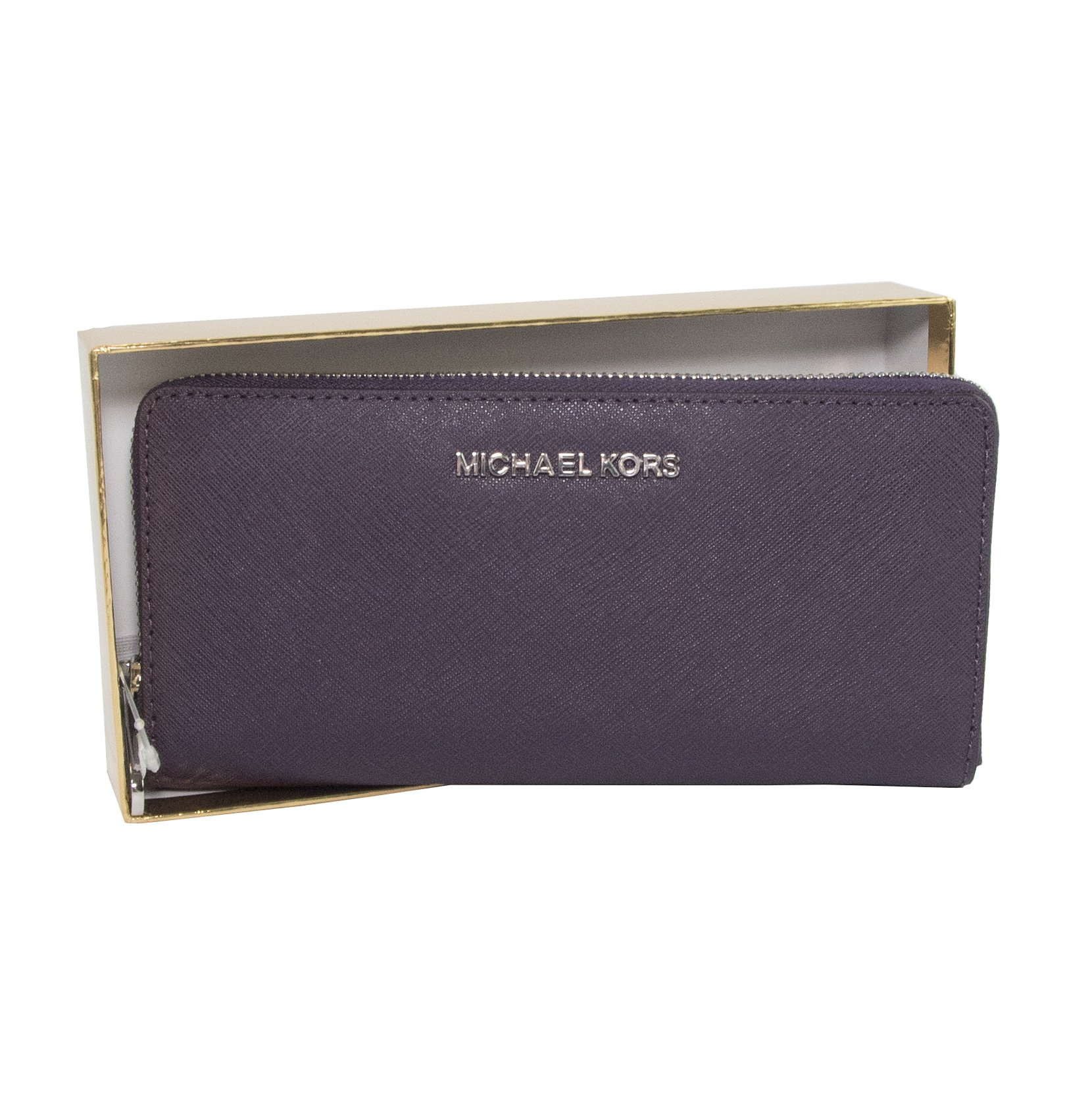 Michael Kors Deep Purple Saffiano Leather Boxed Zip Around Continental Travel Wallet by Michael Kors