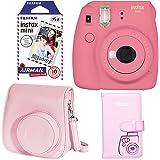 Fujifilm Instax Mini 9 Instant Camera - Flamingo Pink, Fujifilm Instax Mini Airmail Film, Fujifilm INSTAX WALLET ALBUM PINK and Fujifilm Instax Groovy Camera Case - Pink
