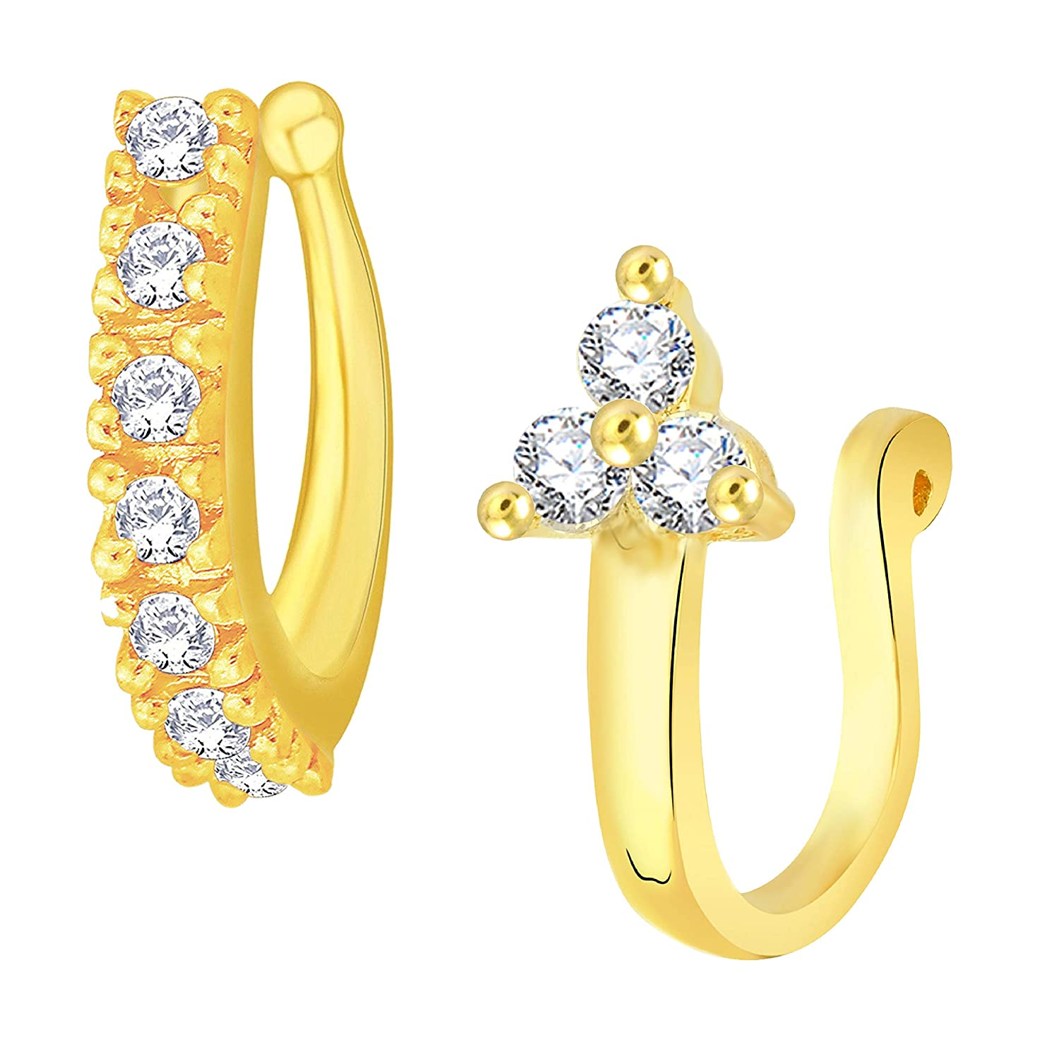 Buy Vk Jewels Gold Plated Alloy Cz American Diamond Pressing Nose