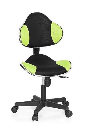 hjh OFFICE 634130 silla escritorio para niños KIDDY GTI-2 tejido negro / verde claro ergonómico silla juvenil