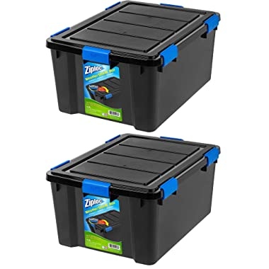 Large Deep Weathertight Storage Box, 60 Qt Black, 2-Pack