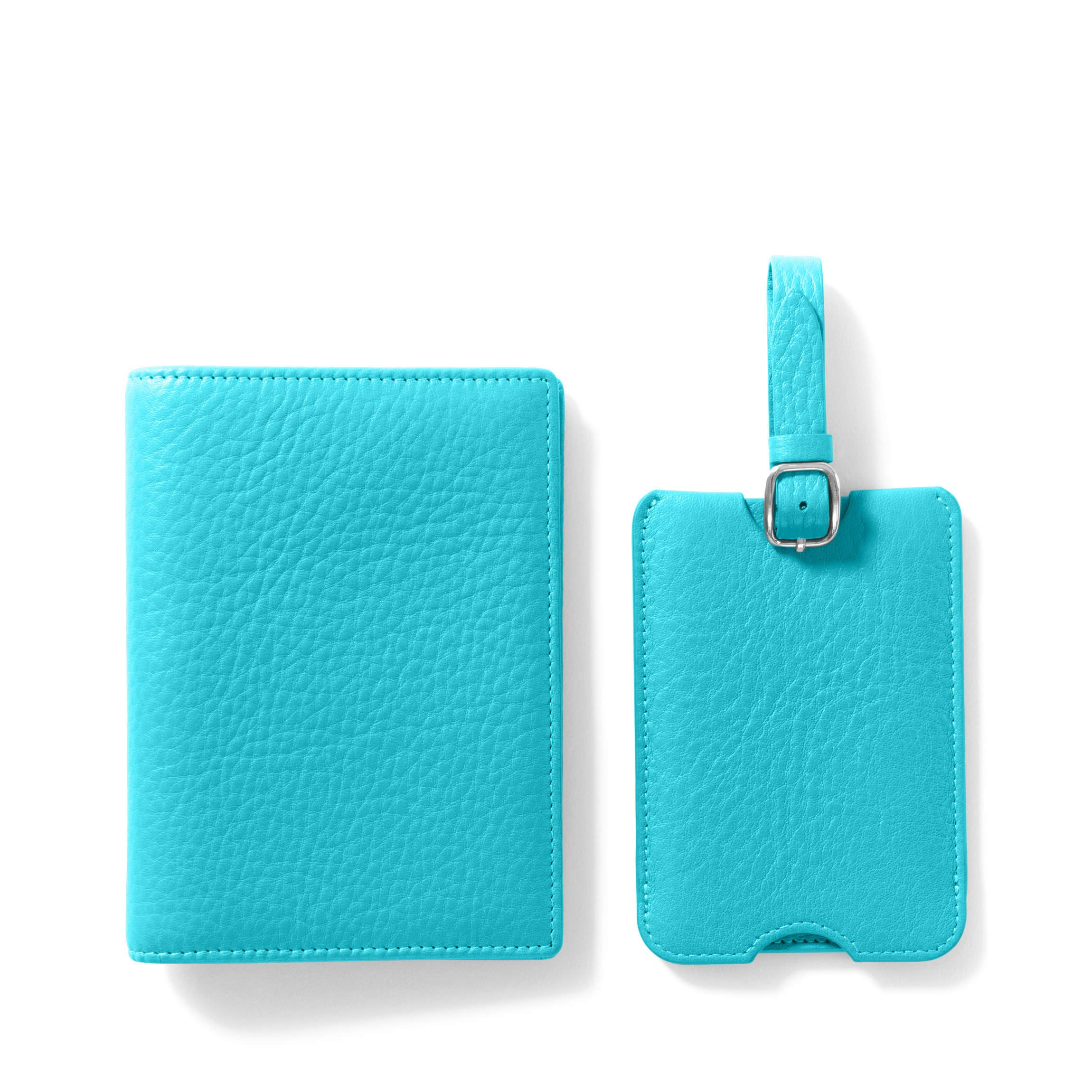 Deluxe Passport Cover + Luggage Tag Set - Full Grain Leather - Teal (blue)