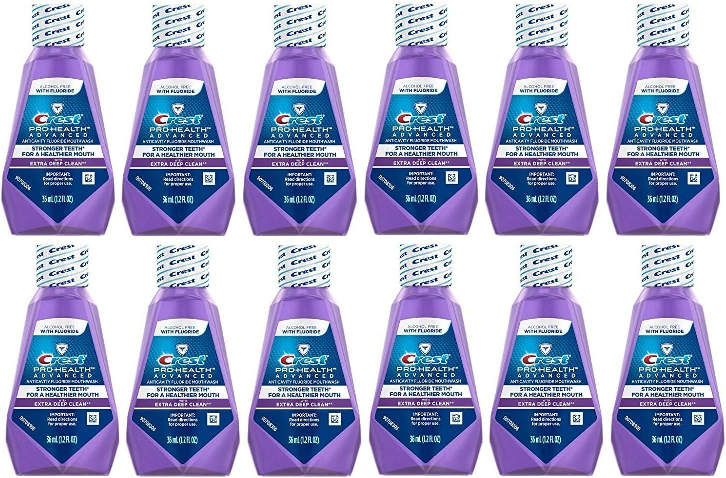 Crest Pro-Health Advanced Anticavity Fluoride Mouthwash/Rinse, Alcohol Free, Travel Size 36 ml (1.2 fl oz) - 12 Pack
