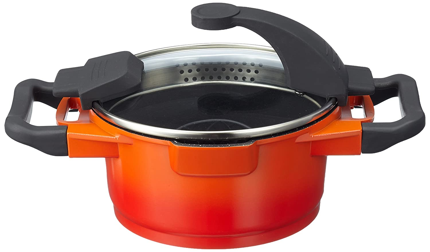 BergHOFF Virgo Cast Aluminium Non-stick Covered Casserole With Lid, Orange/Red, 16 Centimeter 2304900