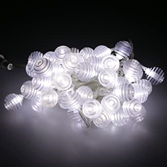 Simple guirnalda de bombillas LED 6,5 m 48 4848 bolas LED blanco con interior exterior ...