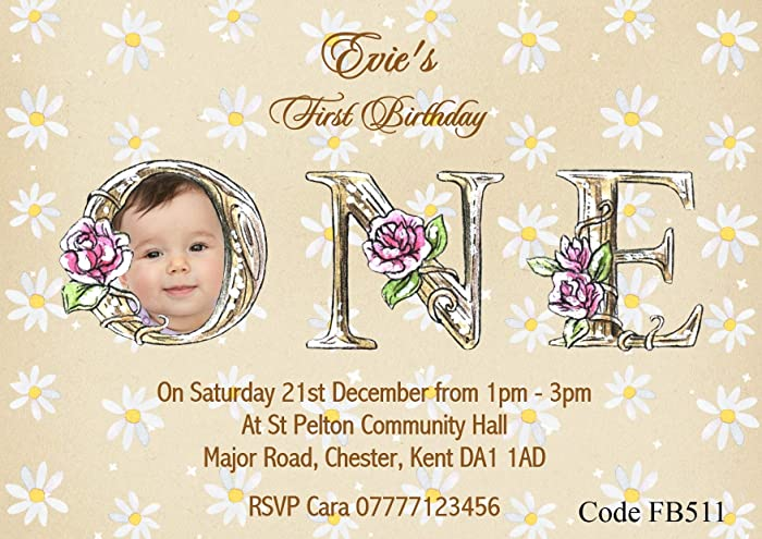 Personalised Girls First Birthday Party Invitations Size
