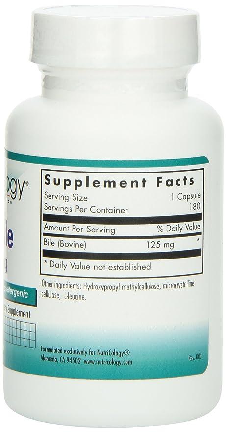 Nutricology buey bilis 125 mg, Cápsulas, 180-count