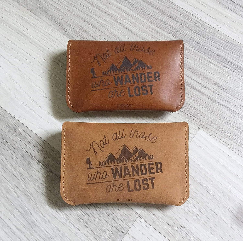 Genuine leather handmade minimalist business name card holder Unik4art 1FG Wanderlust quotes