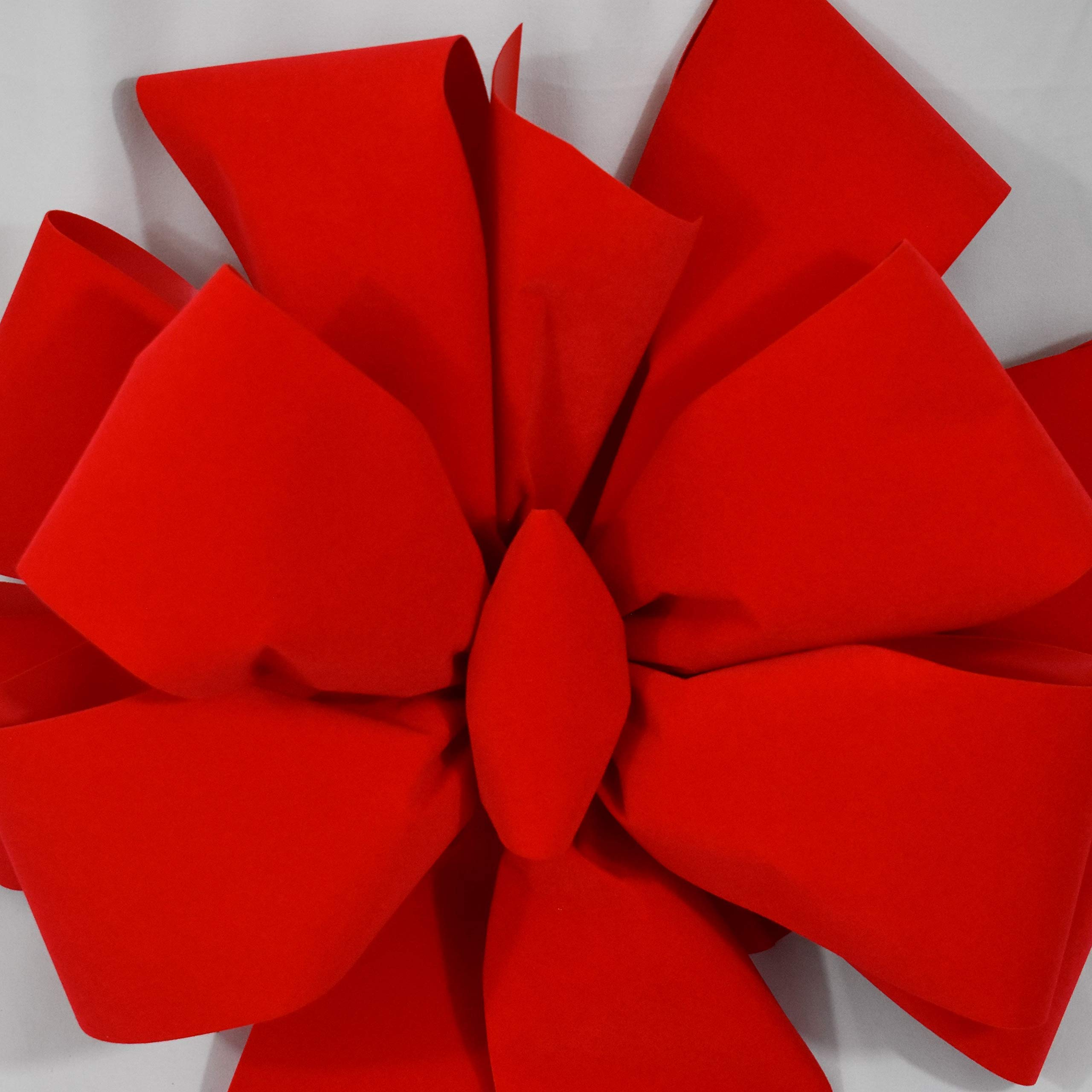 2 Big Red Bows ($24.99 EA) FREE SHIPPING Large Red Velvet Christmas Bow 15''W 44''L 10 Loops 4'' Ribbon | Outdoor Indoor Decorations for Wreaths Tree Topper Gates Doors Grand Driveways | Fluffy Not Flat