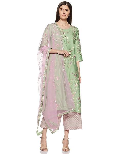 b451db605d0 BIBA Women s Synthetic Achkan Salwar Suit Set (SKD5826 Pista Green 36)