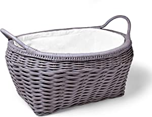 "The Basket Lady Ombak Weave Oval Laundry Basket, 25.5"" L x 21"" W x 13"" H (16.5"" OH), Batu Grey"