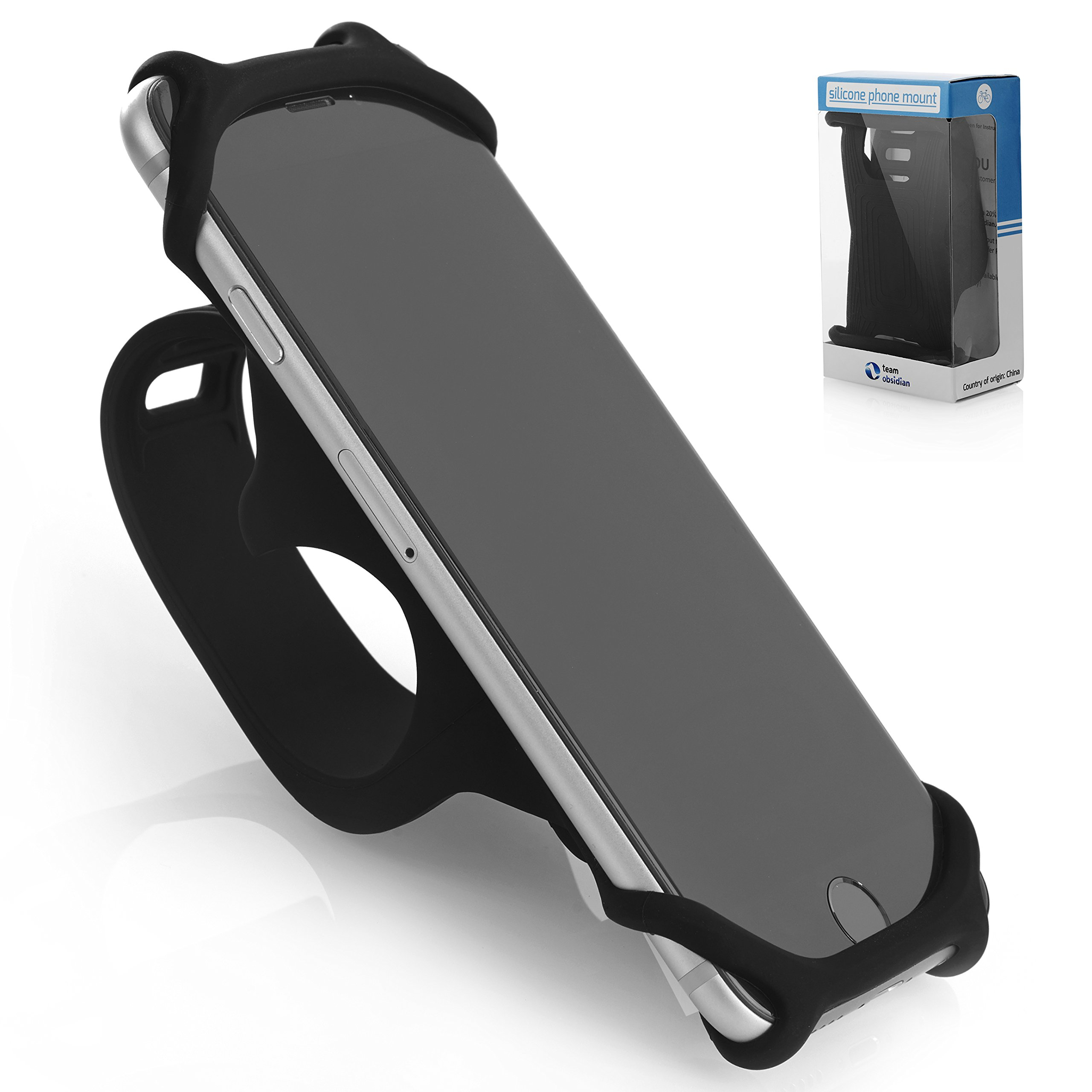 Bike PHONE MOUNT [ Size L ] Made of Durable Non-Slip Silicone. Mobile Cellphone Holder /Universal Cradle for All Bicycle Handlebars and 99% of Smartphones: iPhone X, 8, 7, 6, 5, Samsung etc.