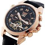 Gute Jaragar Luxury Auto Mechanical Watch 4 Hands Date Tourbillon Rose Gold Wrist Watch for Mens