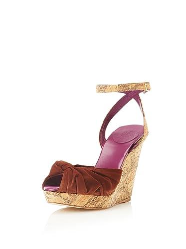 40.5 EU// 10 US MyMu Womens Eva Open Toe Ankle Strap Leather Sole Wedge Sandals Brandy