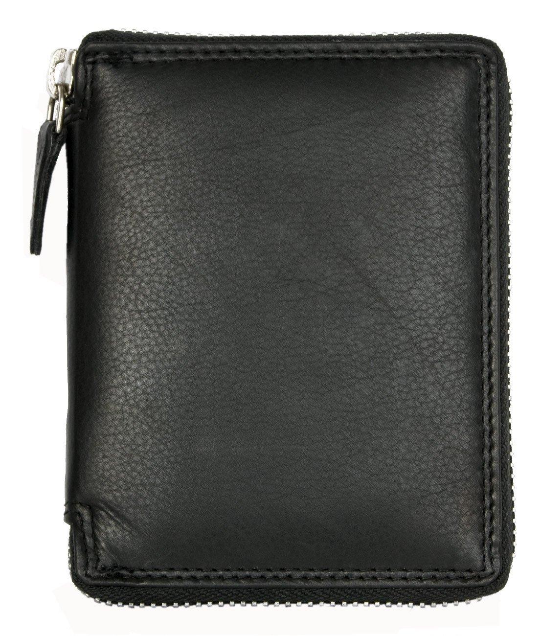 Cartera Kabana negro de cuero genuino de calidad con la cremallera de metal alrededor: Amazon.es: Equipaje