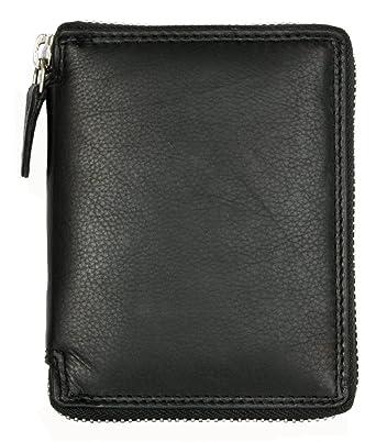 Herren Schwarzes Leder Portemonnaie - Geldbörse mit Metall-Reißverschluss um ba6d2ccc73