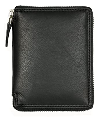 3d27c0975a2a9 Amazon.com  Men s Metal Zipper (Zip-around) Black Leather Wallet Kabana   Clothing