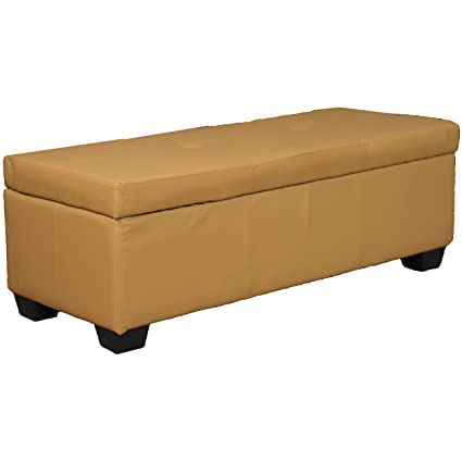 Fine 48 X 19 X 18 High Tufted Padded Hinged Storage Ottoman Bench Leather Look Buckskin Beatyapartments Chair Design Images Beatyapartmentscom