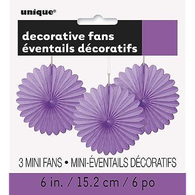 "6"" Mini Purple Tissue Paper Fan Decorations, 3ct: Kitchen & Dining"