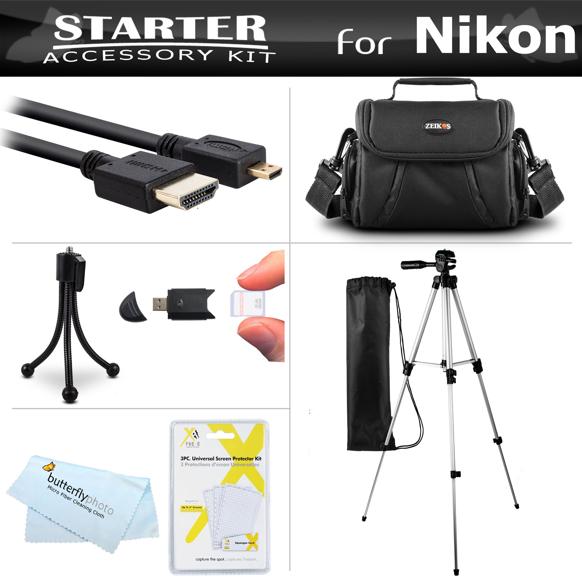 Starter Accessories Kit For Nikon COOLPIX B700, P900, P610, P600 Digital Camera Includes Deluxe Carrying Case + 50'' Tripod With Case + Micro HDMI Cable + USB Card Reader + LCD Screen Protectors + More