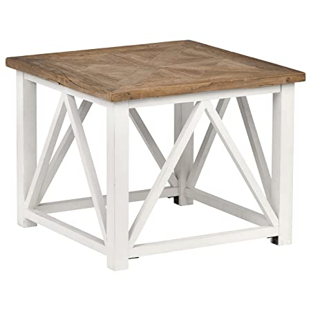 Stone Beam Coastal Breeze Side Table, 27.5 W, Natural and White
