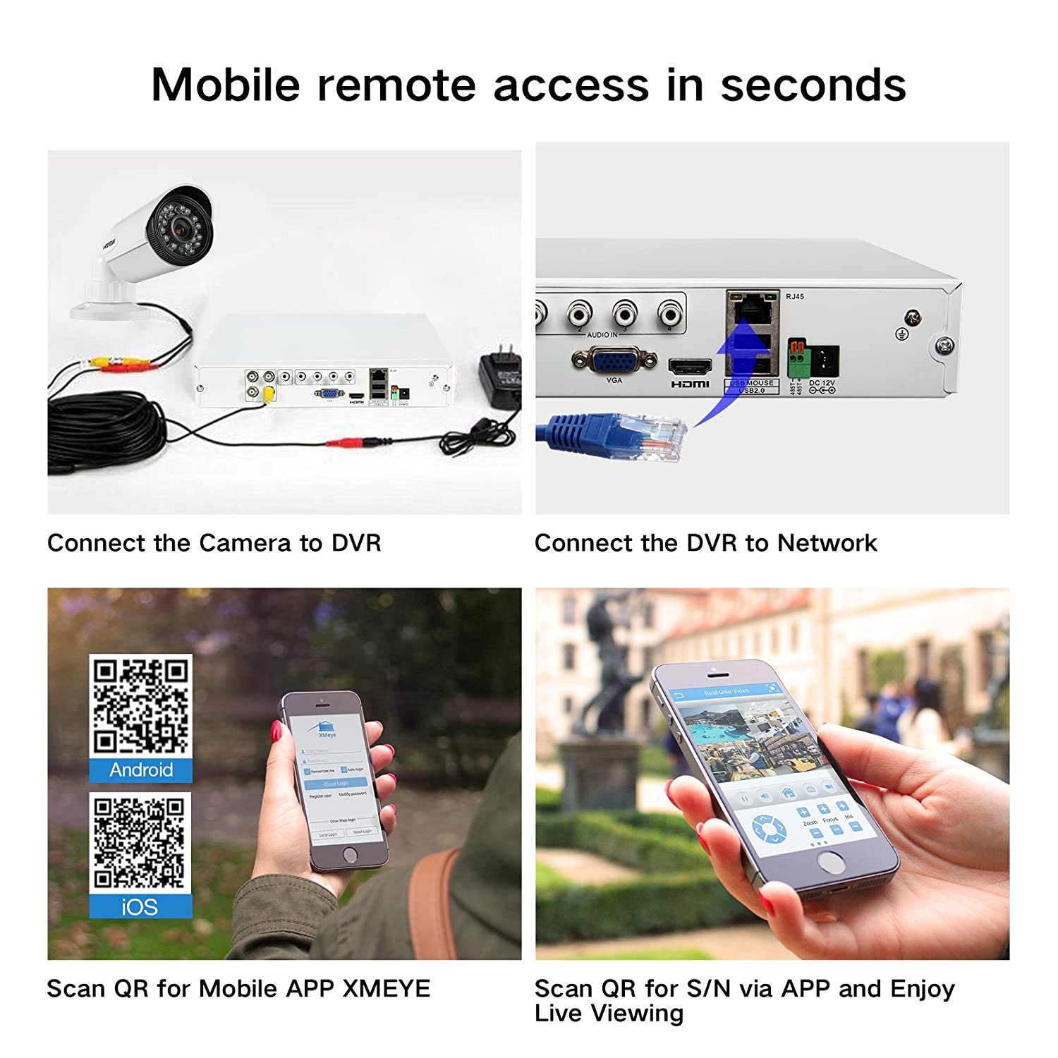Hview Home Security Camera Systems 4 Channel H264 720p Hybrid Dvr 2channel Remote View Mobile With Shock Sensor And Wifi Recorder 2x 720p1200tvl 10 Megapixel Day Night Vision Ir Weatherproof Outdoor Cctv