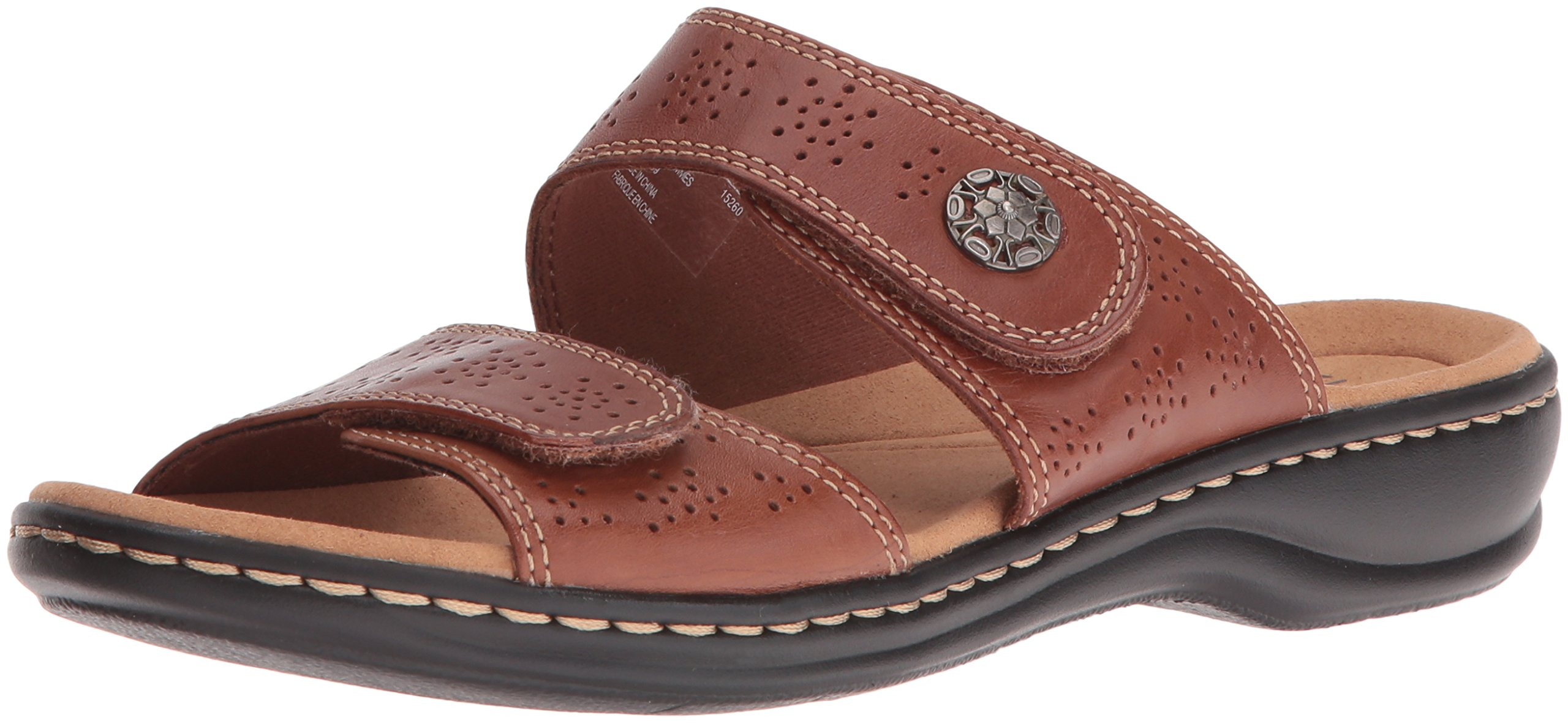 CLARKS Women's Leisa Lacole Slide Sandal, Tan Leather, 8 M US