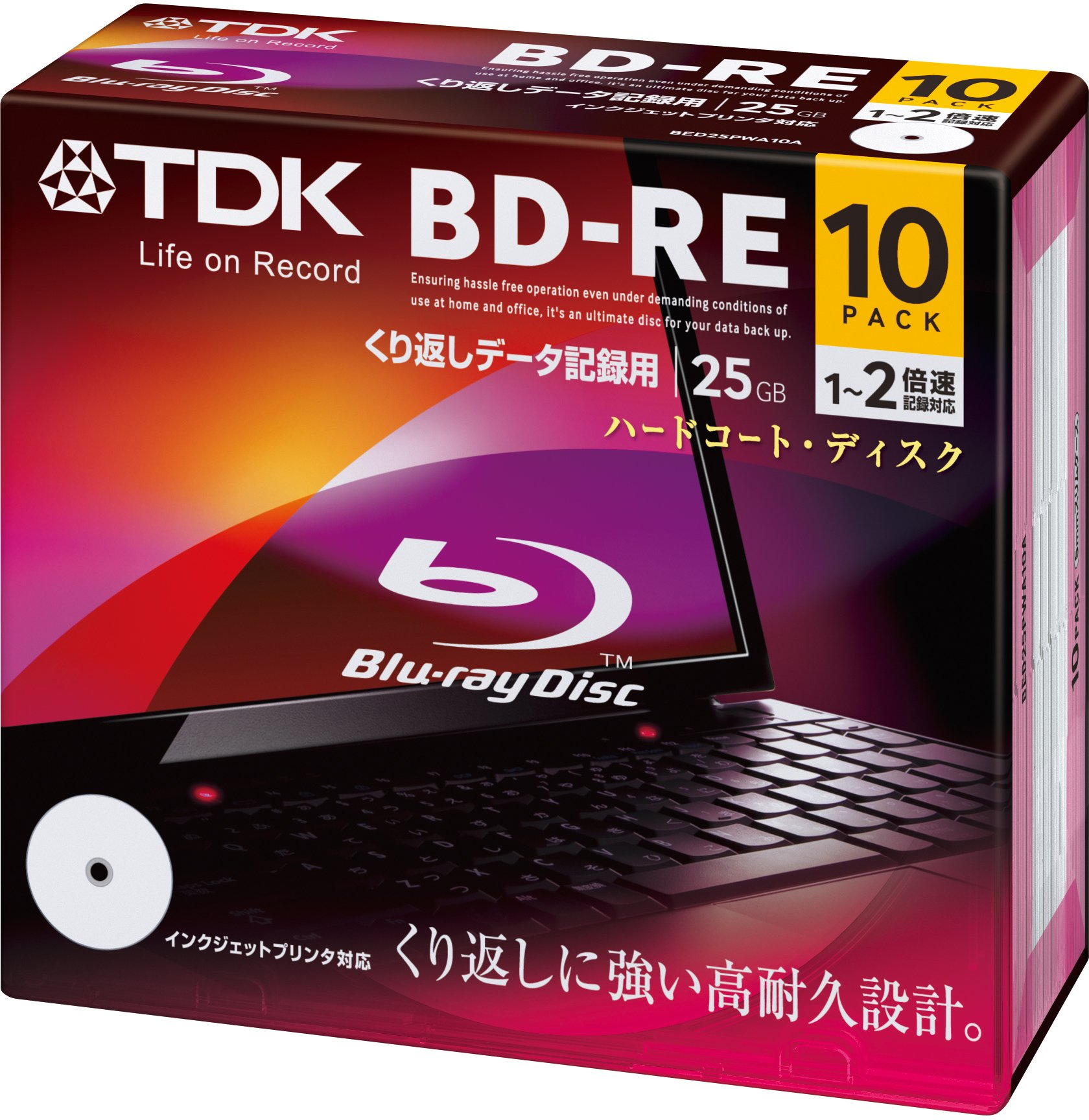TDK Blu-Ray BD-RE Rewritable Ver. 2.1 25GB 2x Speed - 10 Pack Slim Case - Printable by TDK