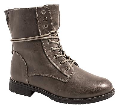 Elara Damen Stiefeletten   Bequeme Biker Boots   Lederoptik  Schnürstiefeletten KA16-22SL-Grau- 6eeb391650