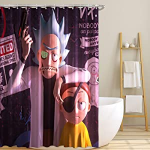 Rick and Morty Fabric Shower Curtain Set with Hooks for Teen Boys Bathroom