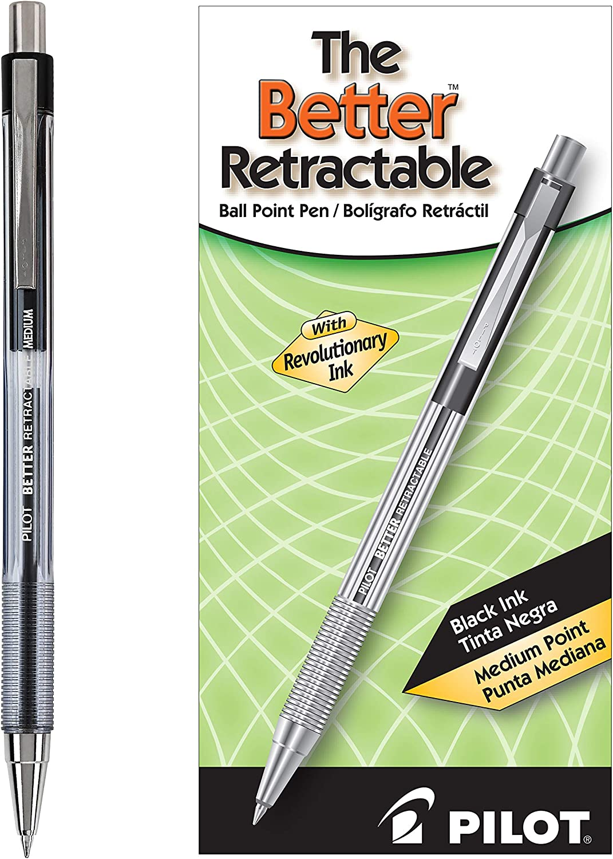 PILOT The Better Ball Point Pen Refillable & Retractable Ballpoint Pens, Medium Point, Black Ink, 12-Pack (30005)