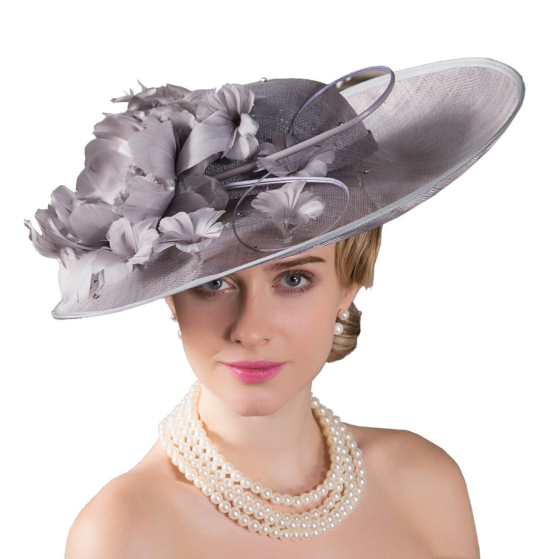HomArt Women Triple Crown Belmont Stakes Wide Brim Hat Church Wedding Party Hat