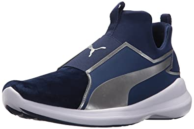 PUMA Women s Rebel Mid WNS Velvet Rope BL Sneaker Blue Depths Silver 5d00f1705