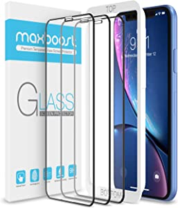 "Maxboost Edge-to-Edge (3 Pack) Screen Protector for Apple iPhone 11 and iPhone XR (6.1"") [Touch Accurate] Full Framed Tempered Glass Screen Protector Compatible with iPhone XR/11 - Pack of 3"