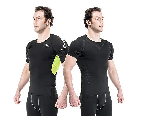 11cc292736e5 Siboya Mens 2 Pack Cool Dry Compression Baselayer Short Sleeve Tops  (Black1,