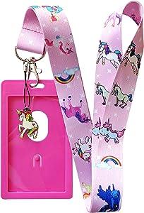 Unicorn Lanyard w/ID Badge Holder - Various Styles (Pink)