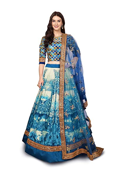 a30d0614d8 Ardhangini Vastram Bridal Collection Chennai Silk Lehenga choli for women(BLUE,  Free size, zcp_7023_BLUE): Amazon.in: Clothing & Accessories