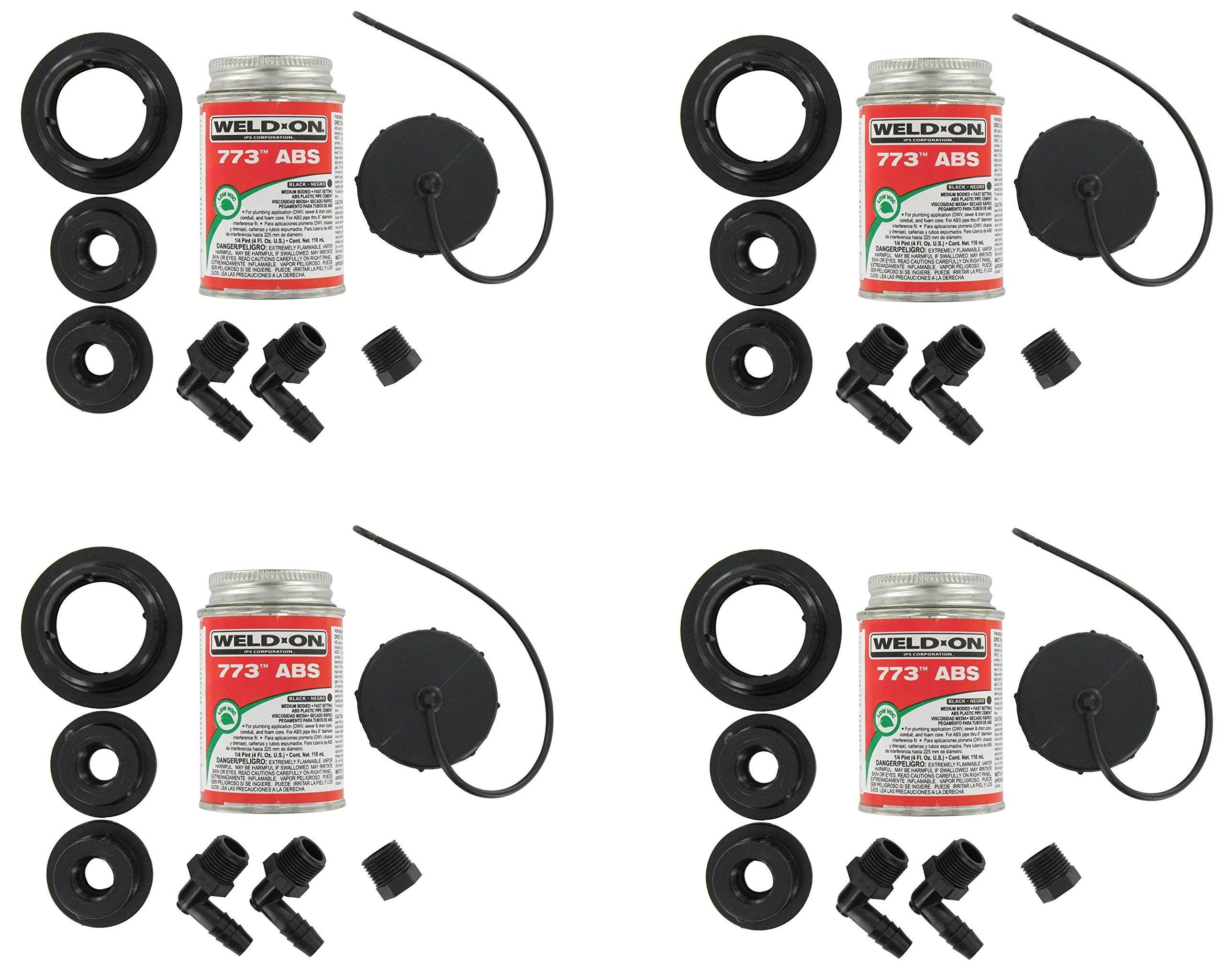 Valterra  RK909 ABS Tank Fill Kit - Threaded Cap with Cement (4)