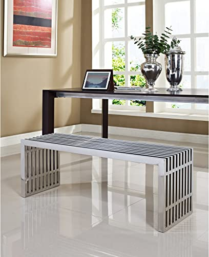 Modway Large Gridiron Stainless Steel Bench