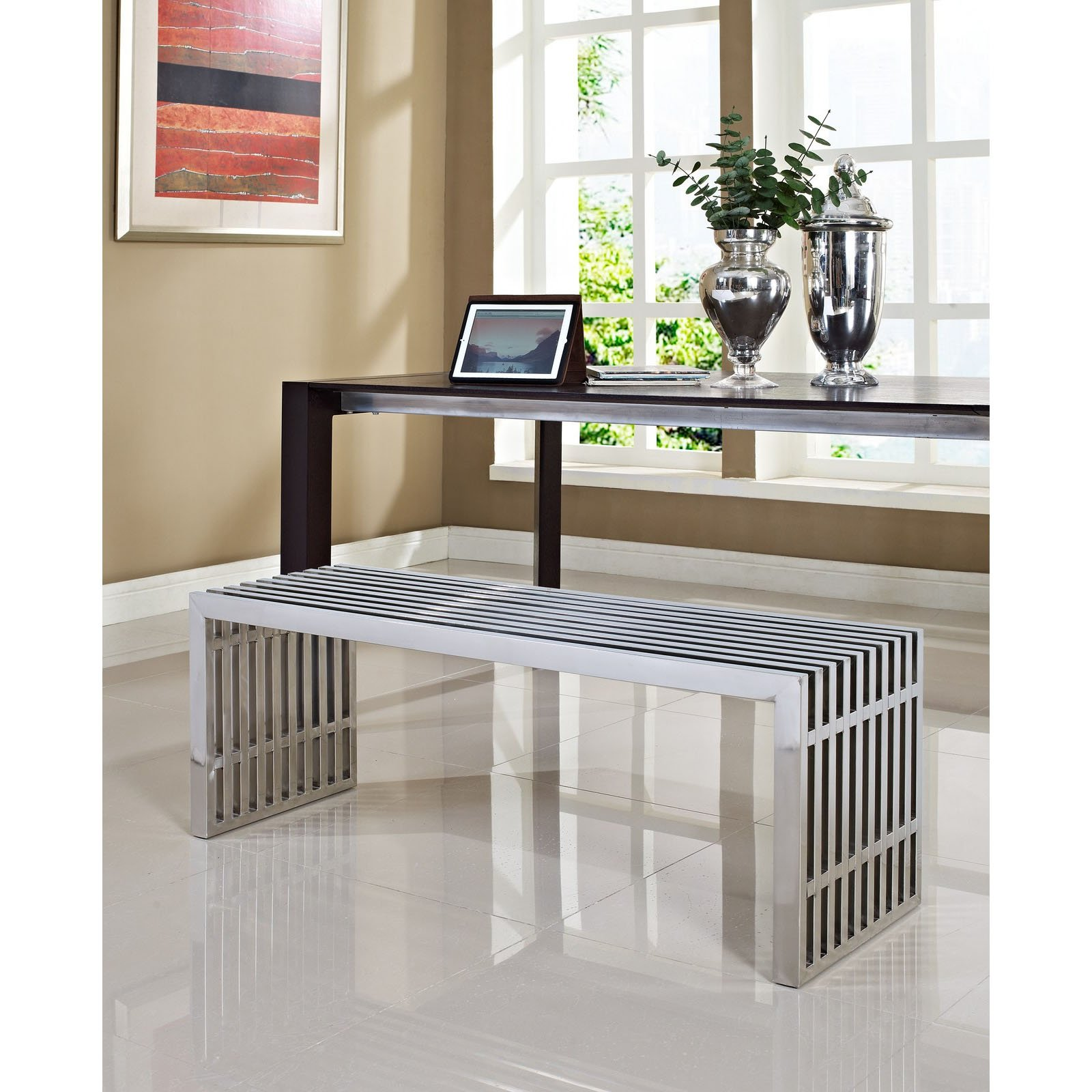 Modway Gridiron Contemporary Modern Large Stainless Steel Bench by Modway (Image #3)